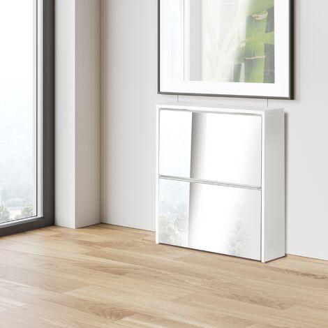 """main image of """"Zapatero mueble blanco armario cómoda pasillo salón espejo y 2 puertas abatibles"""""""