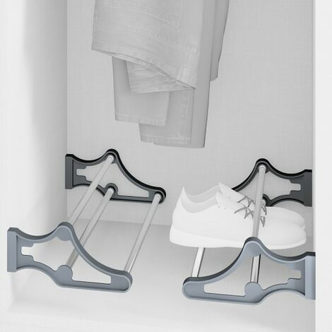 zapatero para interior de armario,regulable, 560-1000 mm, Acero y plástico, Gris metalizado