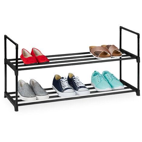 Zapatero Sistema de Encaje, 2 Niveles, para 8 Pares de Zapatos, 45 x 90,5 x 30,5 cm, Estantería Metal, Negro