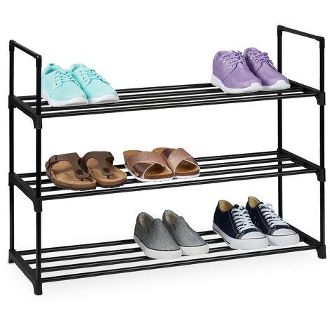 Zapatero Sistema de Encaje, 3 Niveles, para 12 Pares de Zapatos, 67 x 90,5 x 30,5 cm, Estantería Metal, Negro