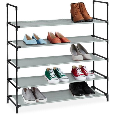 Zapatero Sistema de Encaje XL, 5 Niveles, para 20 Pares, Estantería de Zapatos 90,5x87,5x30cm, Zapatera, Gris