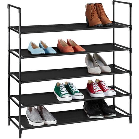 Zapatero Sistema de Encaje XL, 5 Niveles, para 20 Pares, Estantería de Zapatos 90,5x87,5x30cm, Zapatera, Negro