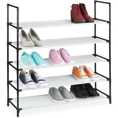 Zapatero Sistema de Encaje XL, 5 Niveles, para 20 Pares, Estantería Zapatos 90,5x87,5x30cm, Zapatera, Blanco