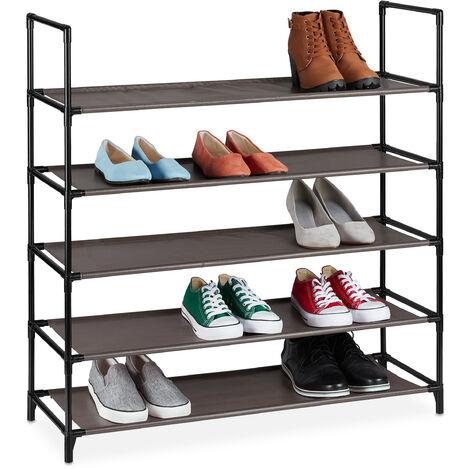 Zapatero Sistema de Encaje XL, 5 Niveles, para 20 Pares, Estantería Zapatos 90,5x87,5x30cm, Zapatera, Marrón