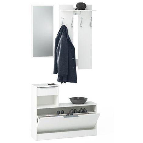 Zapatero vestidor con espejo en color blanco 200x98x26 cm