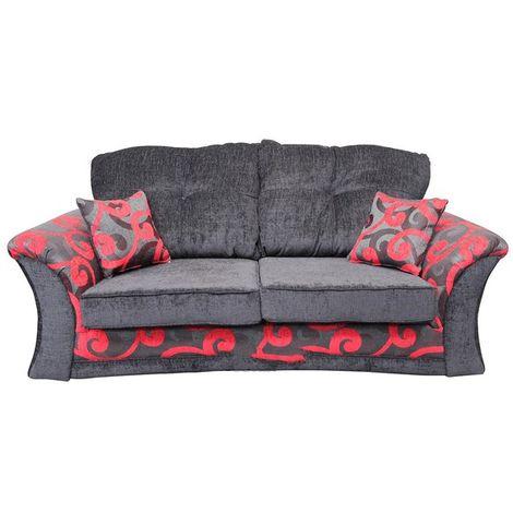 Zara 3 Seater Fabric Sofa Settee Alexia Red