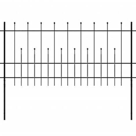 Zaun Zaunelemente Gespitzt Stahl 600x100 cm Schwarz