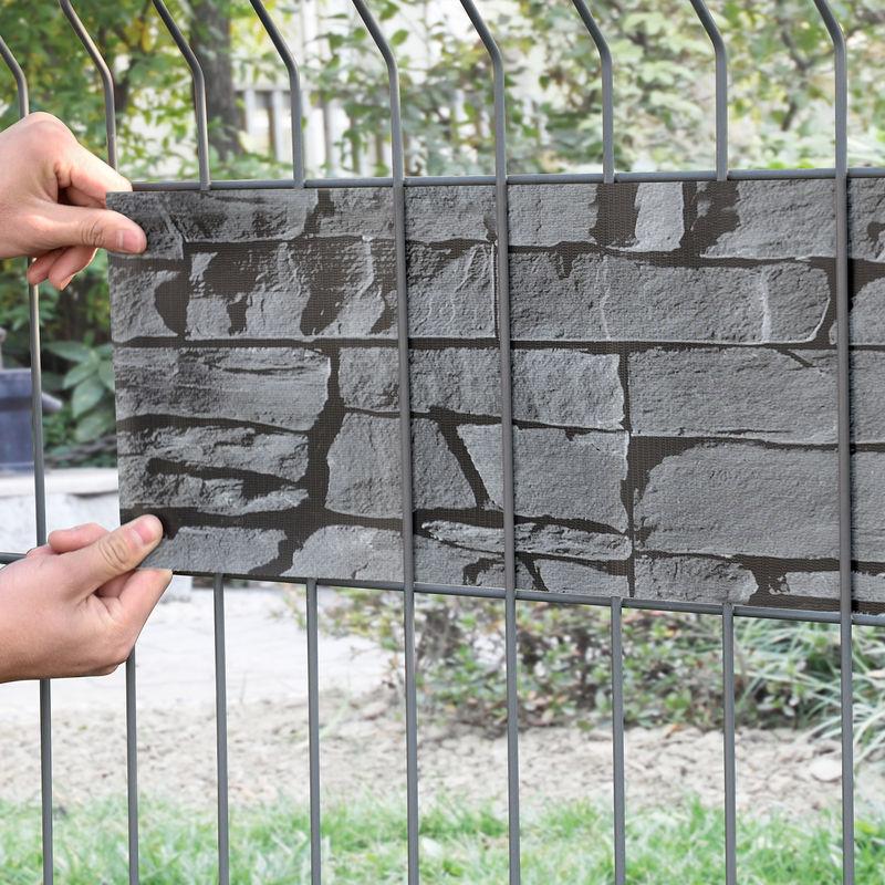 35m Sichtschutz Zaunfolie Stein Grau PVC Windschutz Doppelstabmatten neu.haus