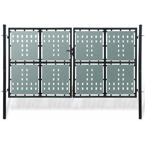 Zauntor Gartentor Doppeltor schwarz 300 x 225 cm