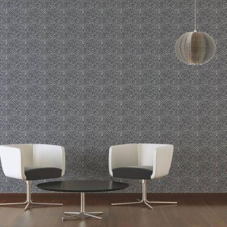 Zebra Animal Print Wallpaper Safari Black And White Textured Wall Covering