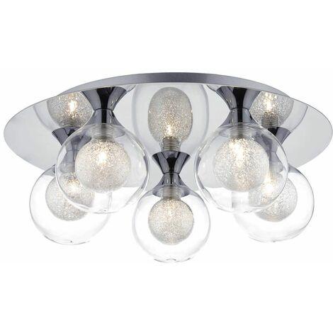 Zeke ceiling light polished chrome and glass 5 lights