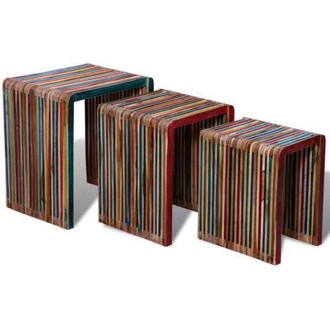 Zelda Reclaimed Teak 3 Piece Nest of Tables by Union Rustic - Multicolour