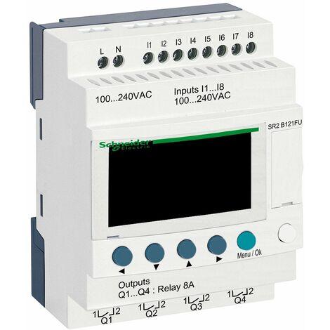 Zelio Logic - relais intelligent compact - 12E/S 100..240Vca - horloge - affi. - SR2B121FU