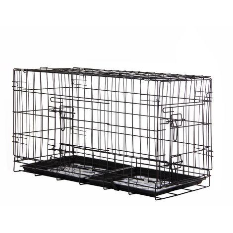 Zelsius Cage pour animaux de compagnie | 80 x 40 x 48 cm | pliable | pour chiens, chats etc.