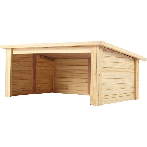 Zelsius Garage en bois pour robots tondeuses | naturel