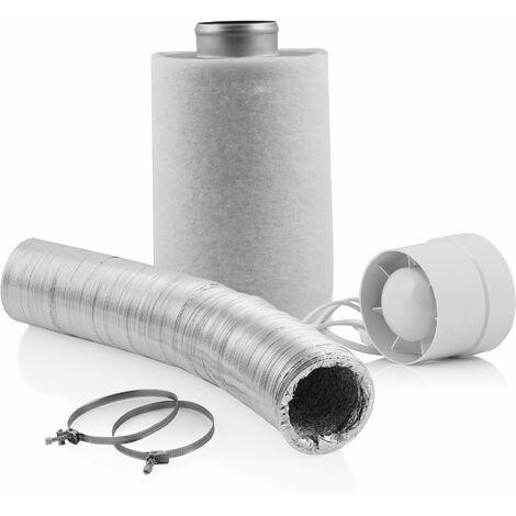 Zelsius Grow Set Basic   Ø 100 mm   Ventilateur tubulaire de 130 m³/h filtre à charbon actif de 210 m³/h tuyau flexible en aluminium de 10 m pour Growbox Serre Homegrow Tente de culture