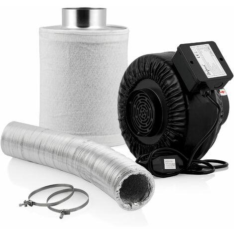 Zelsius Grow Set Premium   Ø 100 mm   Ventilateur tubulaire 345 m³/h filtre à charbon actif 340 m³/h 10 m de tuyau flexible en aluminium pour Growbox Homegrow serre tente de culture