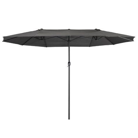 Zelsius Parasol | parasol double avec manivelle | 460x270 cm (gris)
