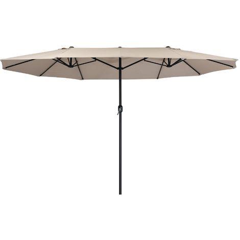 Zelsius Parasol | parasol double avec manivelle | 460x270 cm (taupe)