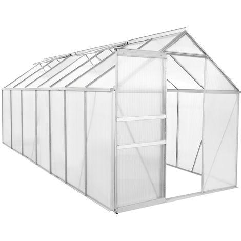 Zelsius Serre en aluminium | 430 x 190 cm | Panneaux de 6 mm, 8,17m²