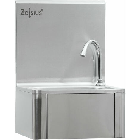 ZELSIUS stainless steel hand wash basin with knee control and soap dispenser