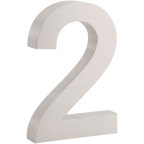 """ZELSIUS stainless steel house number """"2"""""""
