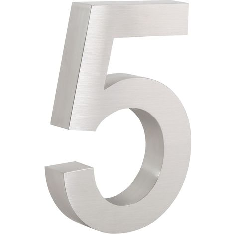 """ZELSIUS stainless steel house number """"5"""""""