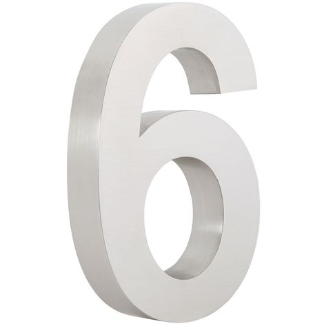 """ZELSIUS stainless steel house number """"6"""""""
