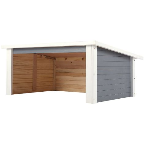 ZELSIUS wooden garage for automatic lawn mowers, automatic lawn mower carport, grey
