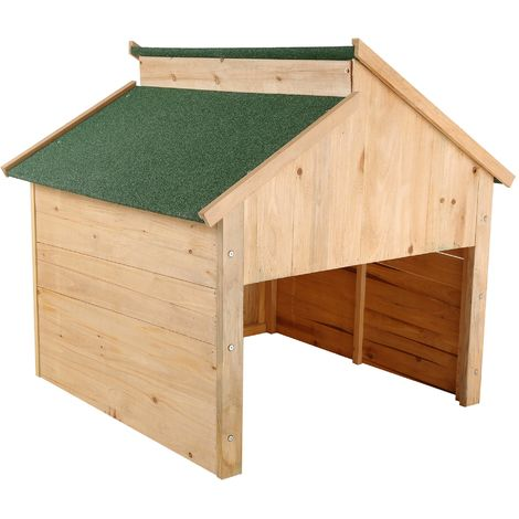 ZELSIUS wooden garage for automatic lawn mowers, red