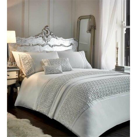 Zenia White Super King Size Duvet Cover Set Sequined Pattern Sparkle Bedding Quilt Bed Set