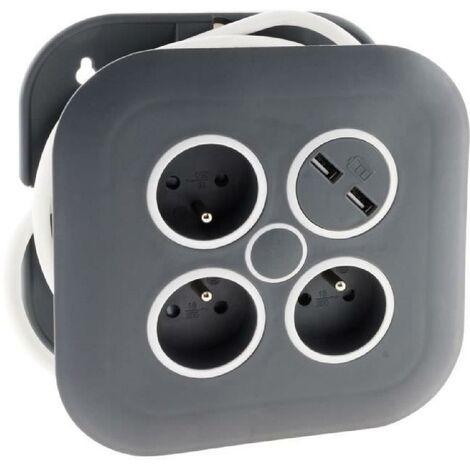 ZENITECH Enrouleur domestique 3 prises 2P+T 16A + coupe-circuit + 2x USB - Gris et blanc