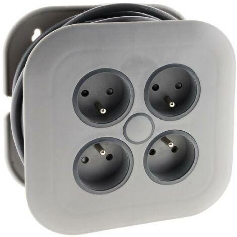 ZENITECH Enrouleur domestique 4 prises 2P+T 16A + coupe-circuit - Gris