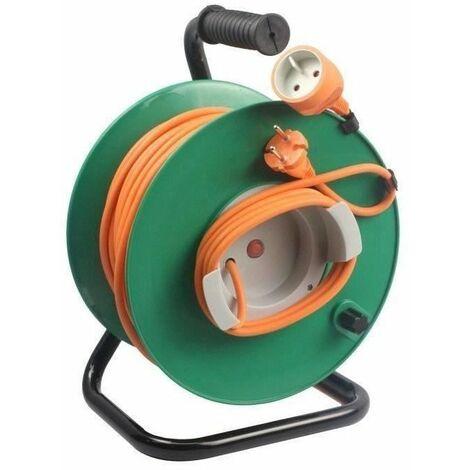 ZENITECH Enrouleur électrique 40m sans prise 2x1,5 mm² avec pied en métal et coupe circuit