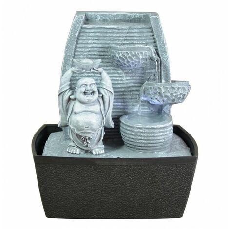 Zen\'Light Fontaine d\'Intérieur Mur Bouddha Rieur Gris Pierre/Noir 20 x 15 x 24 cm