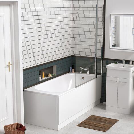 Zensen 1700mm Round Bathroom Shower Screen Bath Front Panel - Single Ended White Bathtub