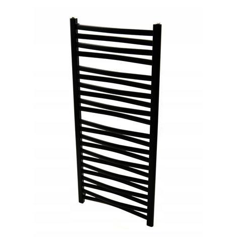 ZEPHYR 3D | Sèche serviettes vertical eau chaude/chauffage central 521W 120.5x44 cm | Radiateur acier salle de bains 22 barreaux | Noir - Noir