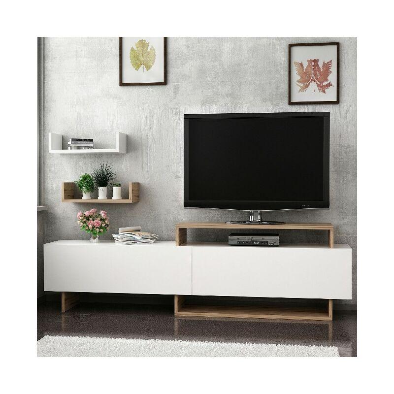 Homemania - Zera TV-Schrank - Modern - mit Tueren, Regalen, Einlegeboeden - vom Wohnzimmer - Nussbaum, Weiss aus Holz, 180 x 30 x 48 cm