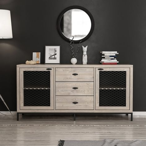 Zeus Multiuse Cabinet - with Doors, Shelves, Drawers - for Living Room, Hall - Black, made in Wood, 150 x 45 x 79 cm
