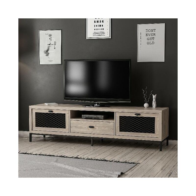 Homemania - Zeus TV-Schrank - Modern - mit Tueren, Einlegeboeden, Schublade - vom Wohnzimmer - Holz, Schwarz aus Holz, Metall, 180 x 35 x 49 cm