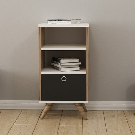Zeyn Multiuse Cabinet - with Doors, Shelves, Drawer - for Living Room, Hall - Walnut, Black, White, made in Wood, 40 x 35 x 82 cm