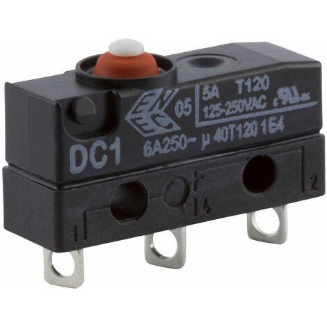 """main image of """"ZF DC1C-A1AA Microswitch SPDT 6A 250V AC, Button, Solder, IP67"""""""