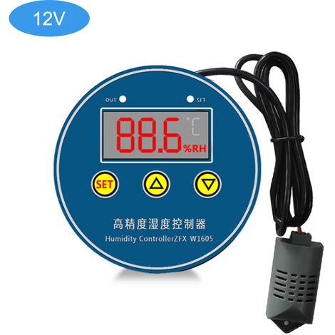 Zfx-W1605 Humidite Numerique Controleur Intelligent Controle De L'Humidite Commutateur Humidistat Regulateur Hygrometre, 12V