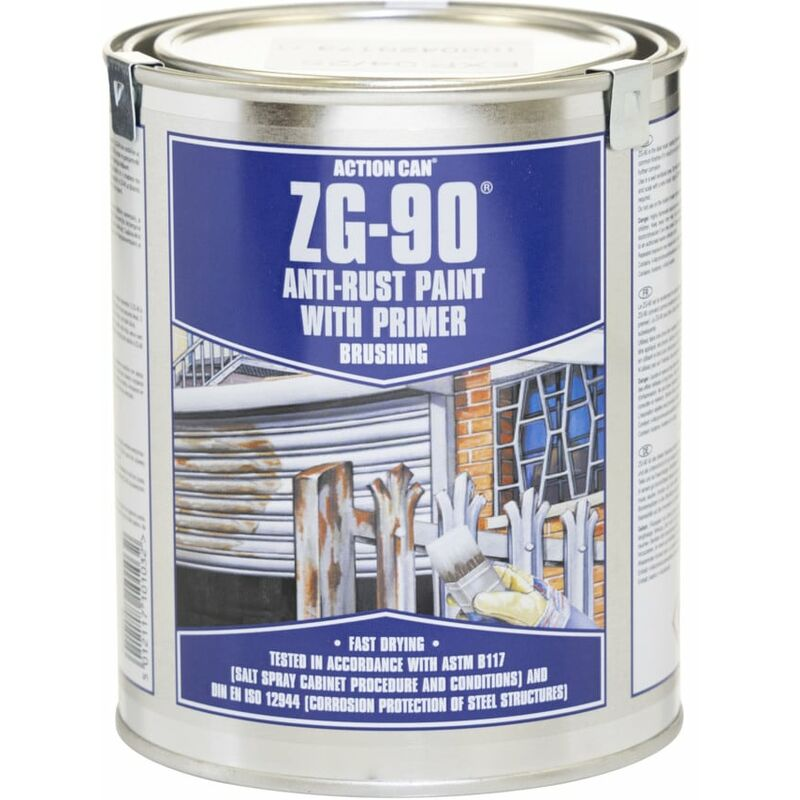 Image of Action Can ZG90 Brushing High Zinc Content Paint Silver 900ML