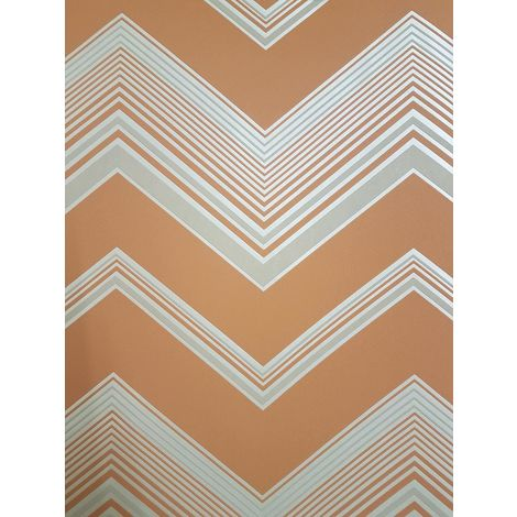Zig Zag Chevron Wallpaper Orange Cream Beige Pearlescent Geometric Striped