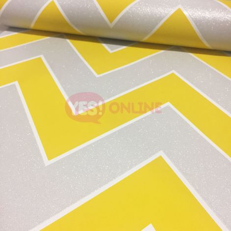 Zig Zag Chevron Wallpaper Textured Vinyl Metallic Glitter Sparkle Yellow Silver