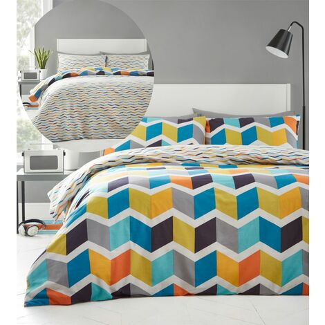 Zig Zag Double Duvet Cover Set Bedding Reversible Brights Multi Geometric