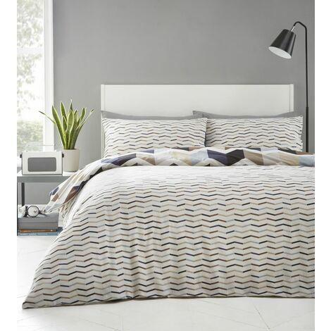 Zig Zag Double Duvet Cover Set Bedding Reversible Natural Geometric