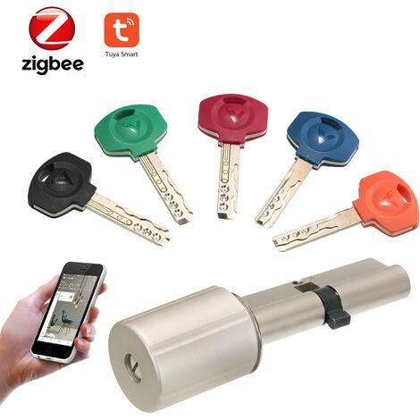 Zigbee Smart Lock Home Securite Antivol Pratique De Verrouillage De Porte Avec Les Cles De Base De Cylindre De Travail Avec Tuya Hub Zigbee Powered By Tuya, Argent