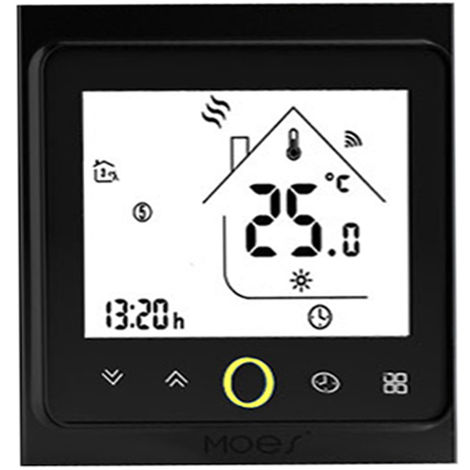 Zigbee Thermostat Intelligent Temperature Programmable Hub Zigbee Requis Vie Intelligente Tuya App Telecommande Compatible Avec Alexa Google Accueil Controle Vocal, Bht-002-Galzbw, Noir